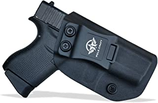 IWB Kydex Holster Custom Fits: Glock 43 / Glock 43X Concealed Carry - Inside Waistband Carry Concealed Holster Glock 43 Pistol Case Guns Accessories - Cover Mag-Button - No Wear - No Jitter