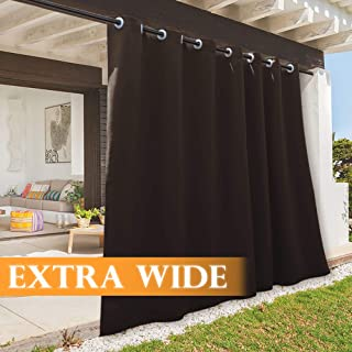 RYB HOME Outdoor Curtains for Pergola, Country Rustic Portable Blackout Drapery for Sun Room/Garage Window/Room Divider/Backyard Patio, Wide 100 x Long 108, 1 Panel, Brown