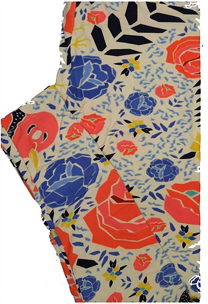 Lularoe One Size OS Roses Floral Off White Blue Red Leggings (OS fits Adults 2-10)
