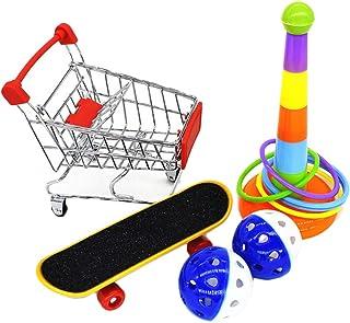 VILLCASE Fågelträning leksaker mini shoppingvagn skateboard intelligens träningsringar och boll leksak papegoja fot leksak...