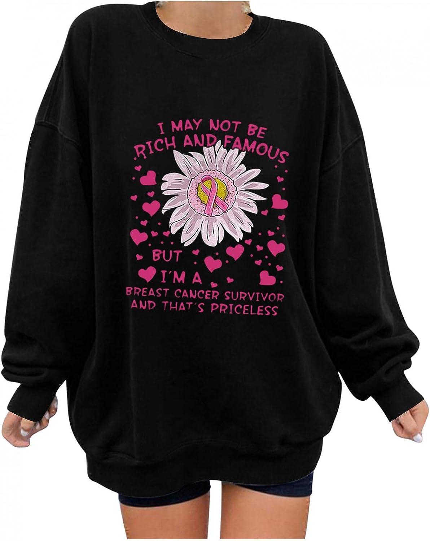 DOSUKRAI Sweatshirts for Women Crewneck Long Sleeves Pullover Flower Letter Pattern Blouse Autumn Winter Coat