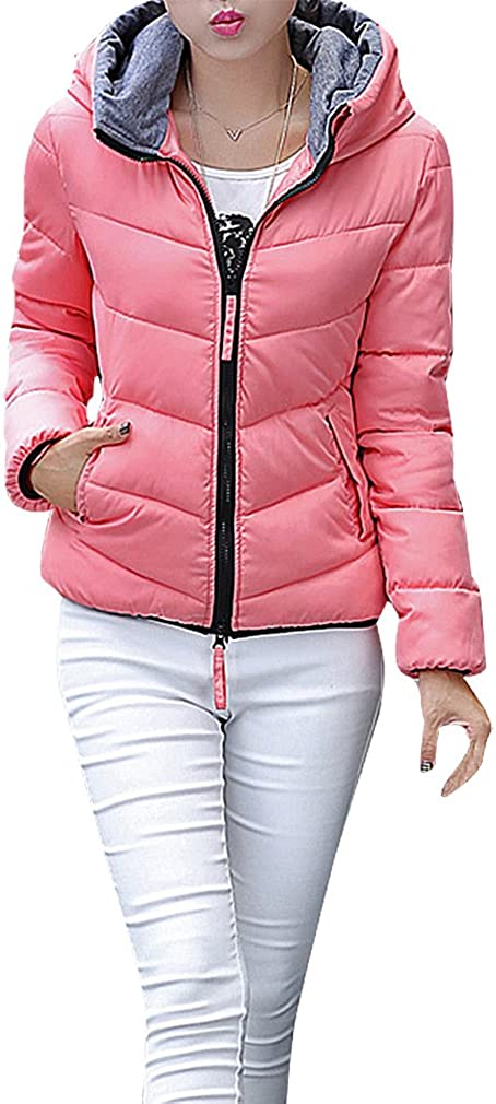 BLady Women's Quilted Black Piping 2 Pocket Mini Hooded Cotton Filled Jacket