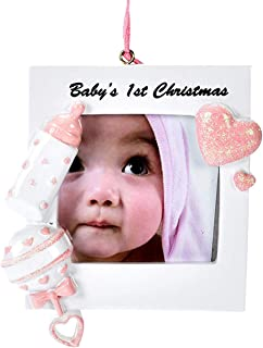 Gift Boutique Babies First Christmas Ornament 2019 Pink Girl Baby 1st Photo Picture Frame DIY Personalized for Holiday Newborn Infant Keepsake Ceramic with Hanging Ribbon