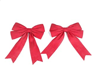 PIXNOR 2Pcs Wedding Bows Decoration Jute Burlap Bows Christmas Bows (Red)