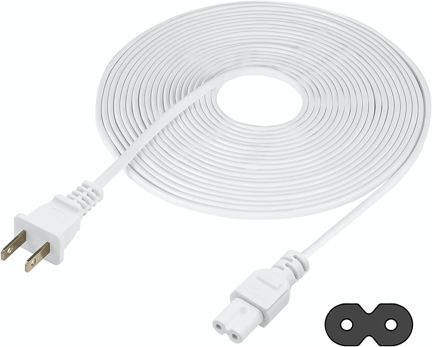Vebner Extra Long 25-Foot TV Power Cord Compatible with Select Samsung, LG, Sony, Hisense, Xbox, PS5 Electronics and More - 2-Prong AC Wall Plug - 2-Slot Straight Plug (White, 25-Foot)