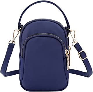 Women 3 Layers Cell Phone Pouch Waterproof Shoulder Bag Tote Handbag with Headphone Hole