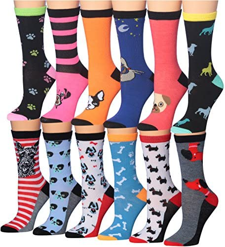 Tipi Toe Women s 12 Pairs Value Pack Dog Novelty Animal Design Socks WC54 AB product image