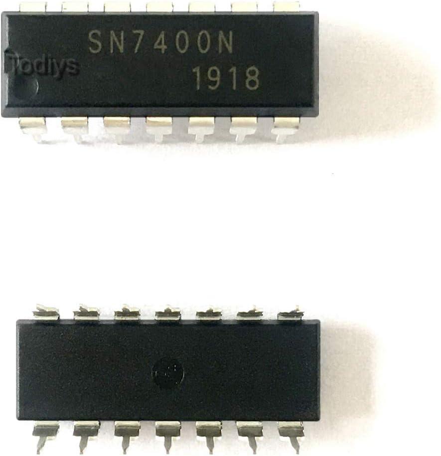 Todiys New 20Pcs for 7400 7400N 7400PC SN7400N DM7400N K155LA3 DIP-14 Quad 2-Input Positive NAND Gates IC Chip SN7400