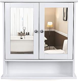 VASAGLE Armario de baño de Puerta con Doble Espejo, Armario de Pared, Armario de Almacenamiento, Armario de Pared, Estantes de Altura Regulable, 56 x 13 x 58 cm, Blanco LHC002
