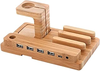 AIYIBEN Wood Charging Station for Multi Devices, 100% Natural Wooden Station 4 in 1 Charging Stand for iWatch iPhone iPad and iPod