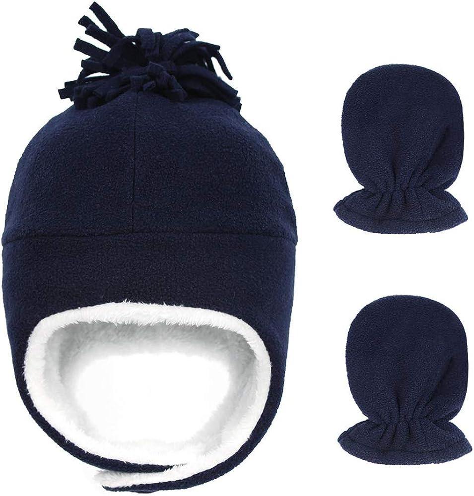 ESTAMICO Little Boys Girls Warm Fleece Chin Strap Trapper Hat Winter Pilot Hat Mitten Set