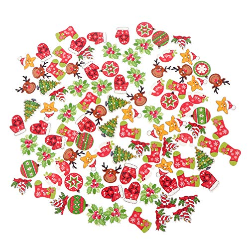 EXCEART 100pcs Christmas Wood Buttons Mixed Craft Xmas Buttons with 2 Holes, Christmas Tree, Reindeer, Santa Hat Stocking Wooden Button for Sewing DIY Craft Card Making Embellishments Christmas Decor