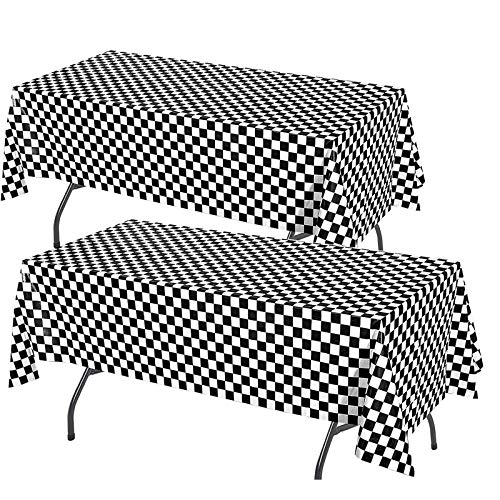 2 Pack 2 Tone Chequered Table Cloth for a Ska themed party. 54 x 108 cm.