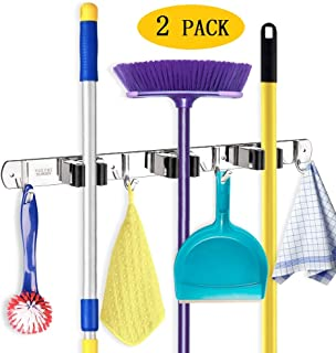 IMILLET Broom Organizer Mop and Broom Holder Wall Mount Stainless Steel Self Adhesive Heavy Duty Hooks Hanger Storage for Garden Garage Closet Kitchen Laundry Room(2 Pack)