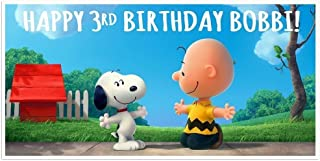 Snoopy Charlie Brown Birthday Banner Personalized Party Backdrop Decoration