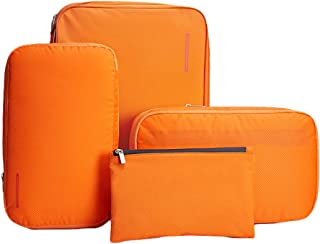 BeeNesting Waterproof Compression Packing Cubes Packing organizers 4 sets for travel carry on (Group4, Orange)