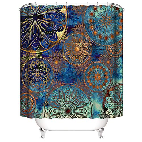 PHNAM Golden Mandala Shower Curtain with Hooks 72x72 Inches Blue Extra Long Waterproof Decoration Polyester Cloth Bath Curtains Sets for Bathroom, Bathtub