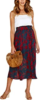 Avidqueen Women's Bohemian High Elastic Waist Polka Dot Printed Pleated Midi Vintage Skirts with Pockets