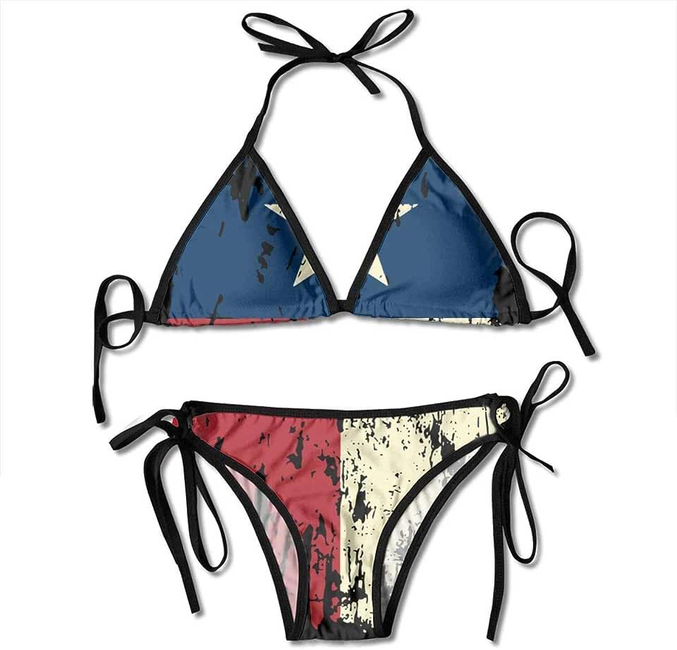 Kimisoy Distressed Texas Flag Bikinifor WomenTwoPieceSwimsuitsPaddedPushUpBathingSuits Black