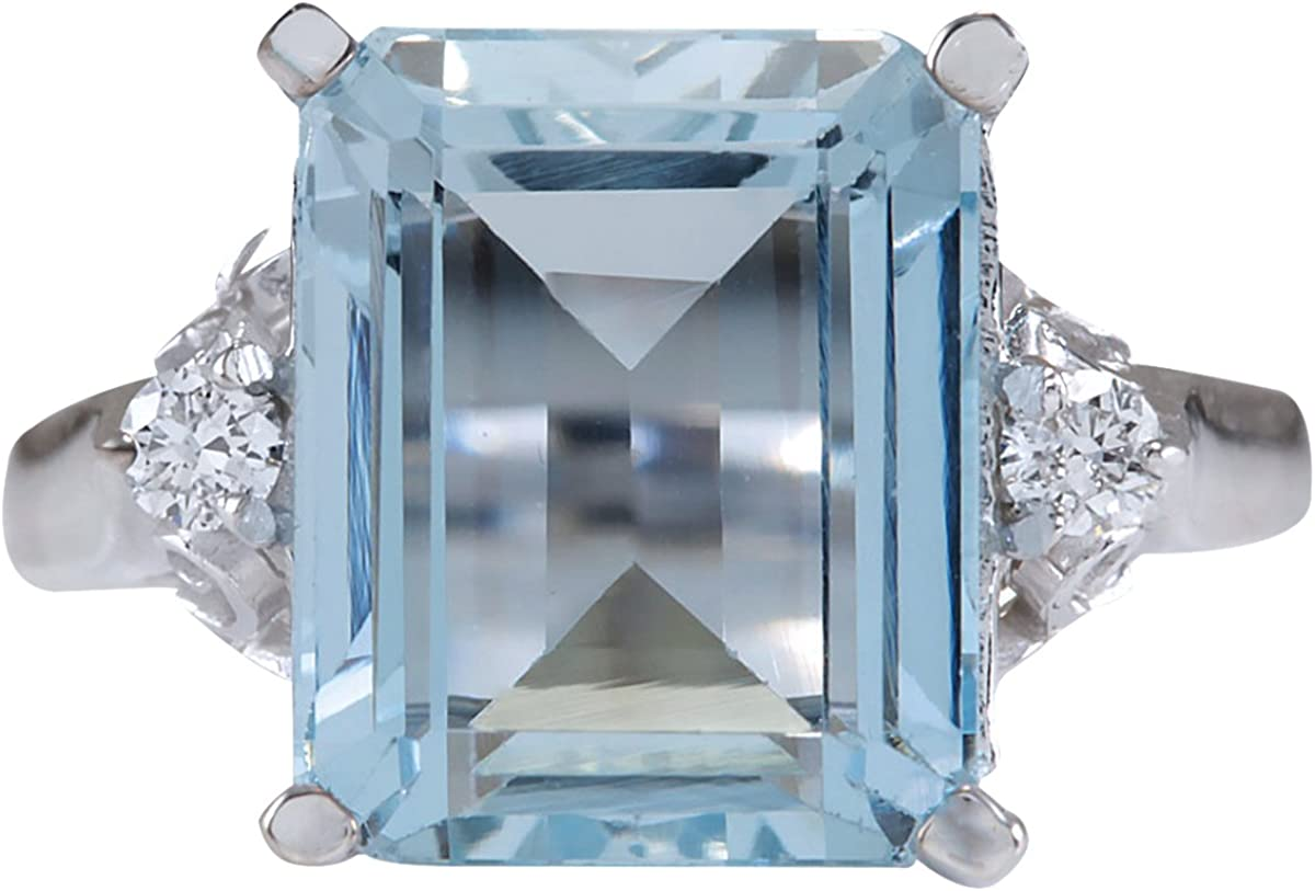 4.72 Carat Natural Blue Aquamarine and Diamond (F-G Color, VS1-VS2 Clarity) 14K White Gold Cocktail Ring for Women Exclusively Handcrafted in USA