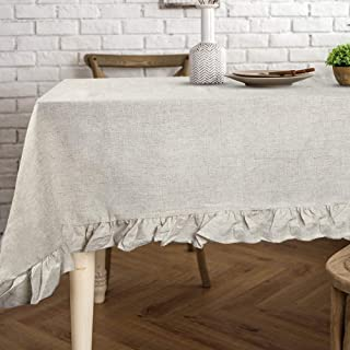 Lahome Rustic Ruffled Linen Tablecloth - Cotton Linen Vintage Flounces Trim Table Cover for Boho Wedding Banquet Tabletop Bridal Baby Shower Birthday Party Decor (Linen, Rectangle - 60