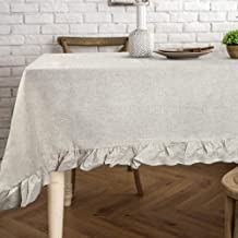 Lahome Rustic Ruffled Linen Tablecloth - Cotton Linen Vintage Flounces Trim Table Cover for Boho Wedding Banquet Tabletop Bridal Baby Shower Birthday Party Decor (Linen, Round - 60