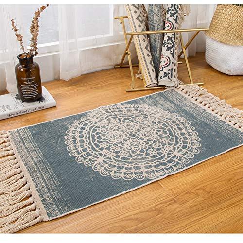 Sumshy Alfombra etnica Bohemia algodón y Ropa Alfombra Sala alfombras de habitacion de Estar Dormitorio cabecera Alfombra étnica Vintage Borla de Viento - 80x50cm