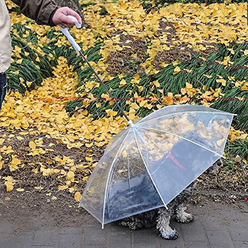 WU Paraguas Transparente Pet con protección contra la Lluvia y la Nieve con Paraguas para Perros y Gatos para Mascotas Que Caminan al Aire Libre