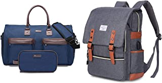 Modoker Vintage Laptop Backpack for Women Men,Modoker Convertible Garment Bag with Toiletry Bag, Carry on Garment Duffel B...