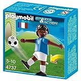 Playmobil Fútbol - Fútbol: Jugador Francia II, Juguete Educativo, Negro, Azul, Marrón, Color Blanco, 3,8 x 10,4 x 10,2 cm, (4737)