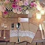 20 Stück Jute Bestecktaschen Besteckbeutel Besteckhalter Sackleinen mit Spitze Messer und Gabeln Besteck Set Hochzeit Vintage Deko Tischdeko für Party Hochzeit Zuhause (20 Stück Jute Bestecktaschen) - 4
