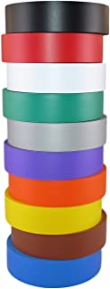 TradeGear Electrical Tape Assorted Matte Rainbow Colors – 10 Pk Waterproof, Flame Retardant, Strong Rubber Based Adhesive, UL Listed – Rated for Max. 600V and 80oC Use –Measures 60' x 3/4