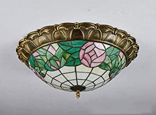 Tiffany Style Ceiling Lamp Bedroom Study Ceiling Lamp European Pastoral Ceiling Lamp Corridor Porch Aisle Balcony Ceiling ...