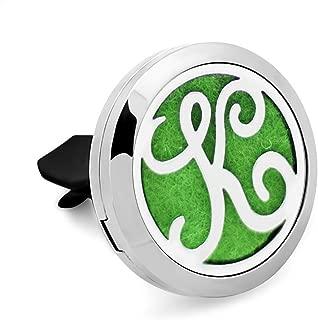 Monogram Aromatherapy Essential Oil Diffuser Car Air Freshener Alphabet K Locket with Vent Clip-12 Felt Pads