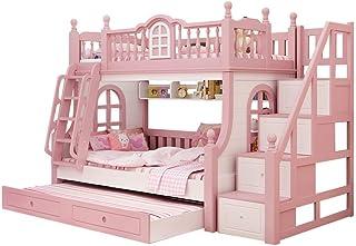 TeRIydF Meubles de Chambre à Coucher pour Enfants en chêne montés et descendus d'escaliers avec Lits superposés pour Enfan...