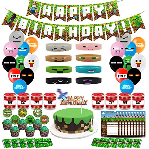 Pixel Style Gamer Birthday Party Supplies includes Banner - Cake and Cupcake Toppers - Balloons - Bracelets - Invitation Cards - Candy Bar Wrappers - Chip Can Labels