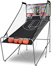 Giantex Foldable Indoor Basketball Arcade Game, 8 Game Options, Electronic Double Shot 2 Player w/ 4 Balls, Indoor Electronic Basketball Game for Kids