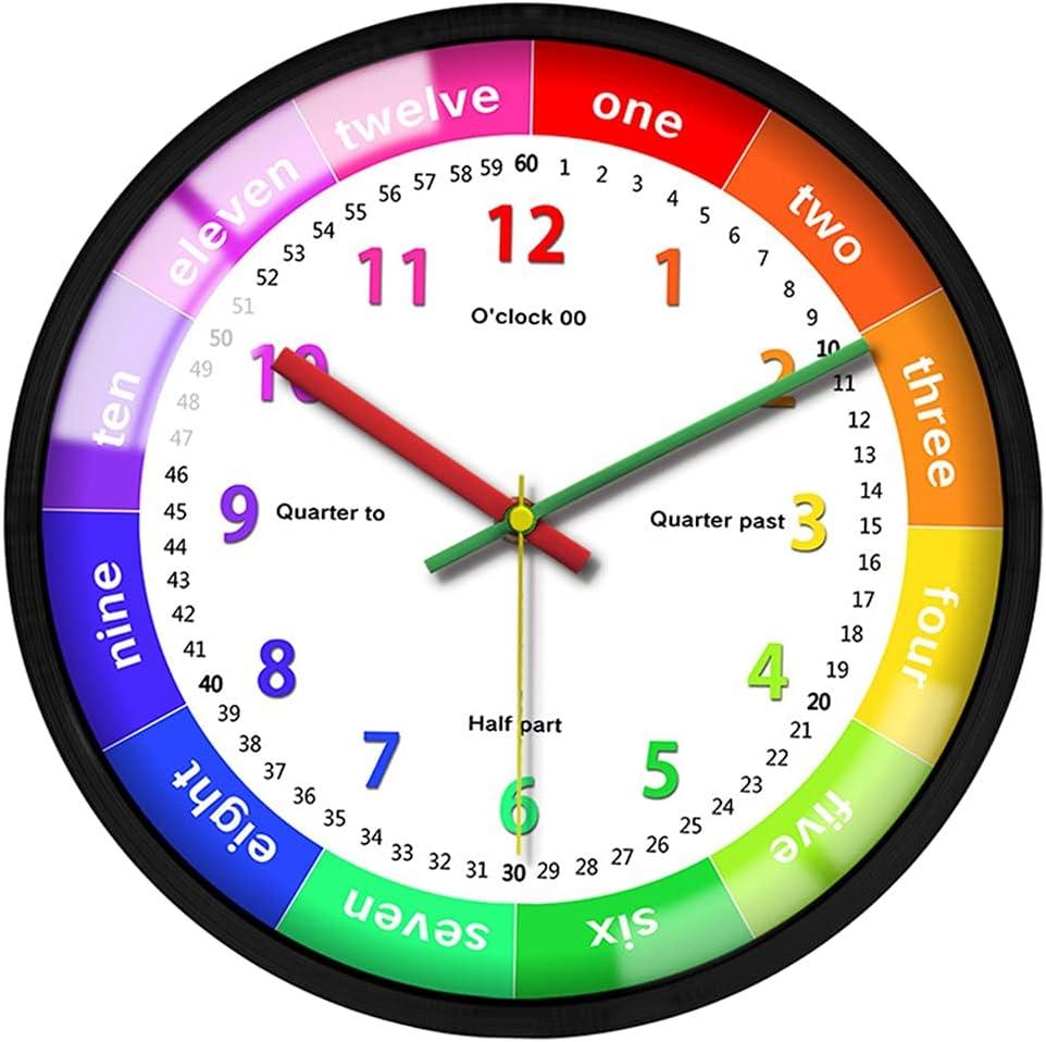 Dolity Hanging Clock Non-Ticking Kids Bedroom School Classroom L
