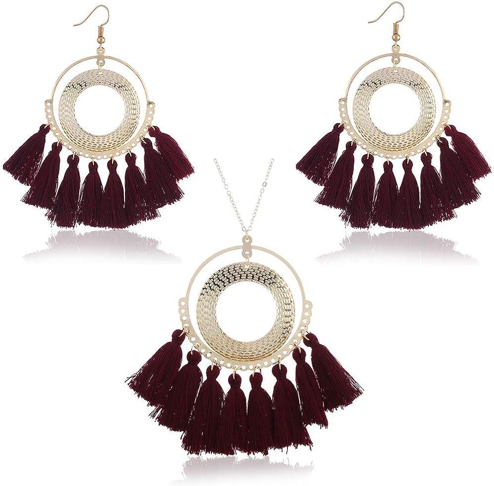 GaFree Women Colorful Bohemian Tassel Earrings Necklace Jewelry Sets Fashion Trending Dangle Drop Women Earrings Pendant Necklace