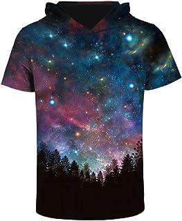 Zegoo Women Men 3D Galaxy Short Sleeve Hoodies Sweatshirts