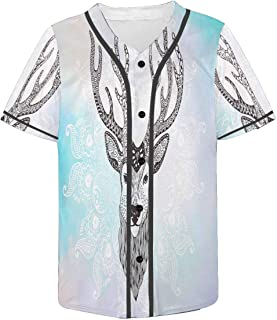 INTERESTPRINT Men's Button Down Baseball Jersey Deer Head Tattoo Mehendi