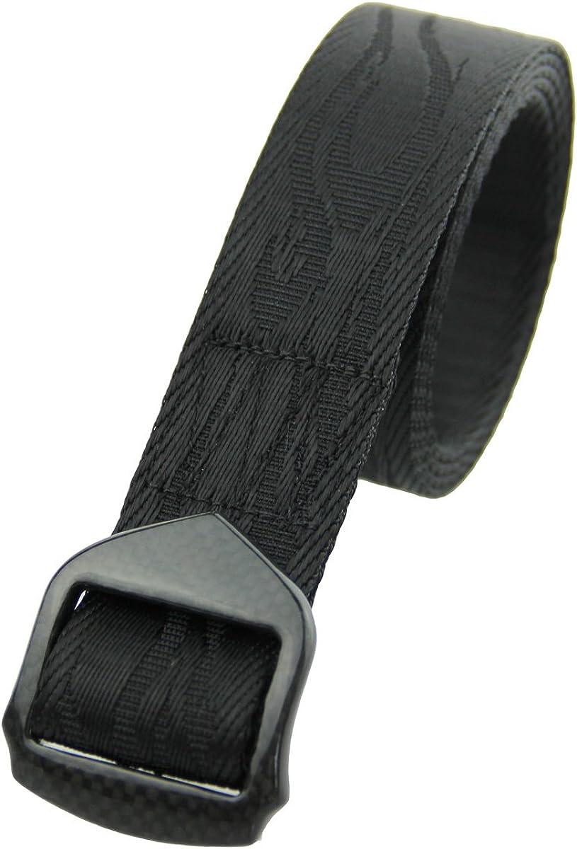 RockWay Unisex Hand-Polished Carbon Fiber Buckle Fire Pattern Jacquard Nylon Belt (Black)