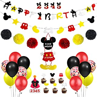 70pcs Balloons Napkins Serves 20 Guests Party Decorations Include Birthday Banner Plates Mickey Mouse Themed Birthday Party Supplies Cupcake Toppers and Tablecloths for Girls Boys Party Favors