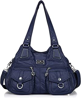 Angelkiss Womens Soft Leather Purses and Handbags Designer Hobo Shoulder Bag Handle Bags with Pockets