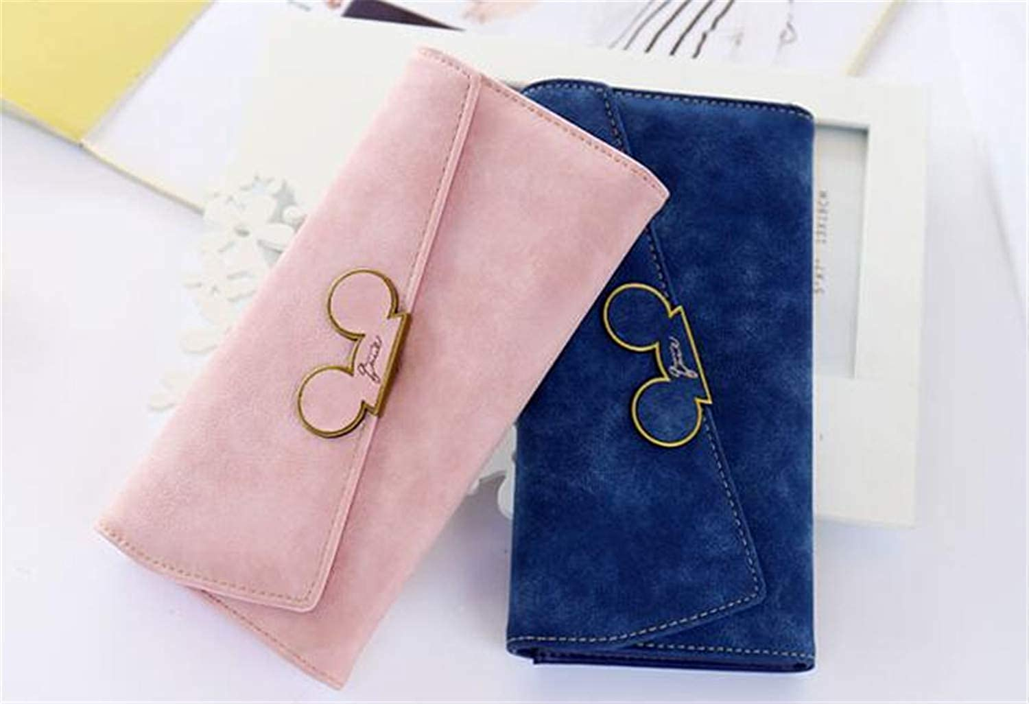 Cross Wallet Purse Women Scrub Personality Fashion Long Wallet Solid colorLarge Capacity Sweet Ladies Student Girls Simple Ins Wallet 2pcs (19.1  9.5  2.3cm) for Work (color   A)