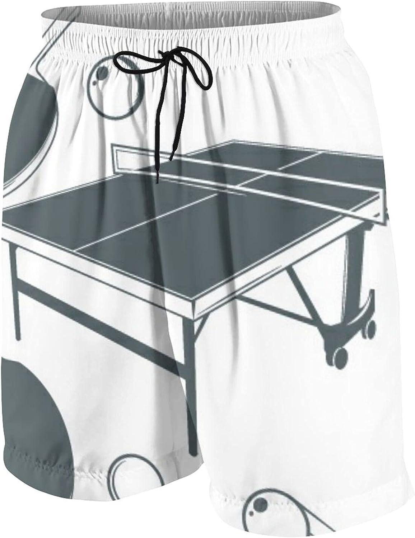 GKGYGZL Trajes de baño Personalizados para Hombres,Mesa de Ping-Pong,Raqueta de Ping-Pong,Pelota de Ping-Pong S,Ropa de Playa Troncos de baño de Secado rápido Pantalones Cortos de Traje de baño XXL