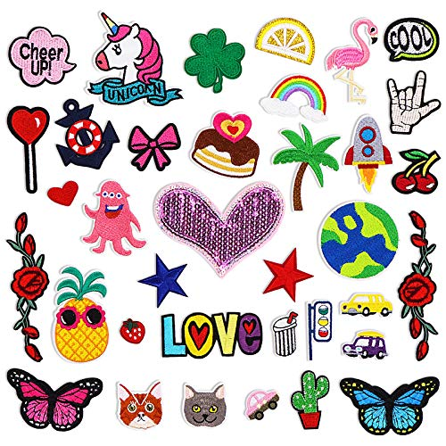 Pawliss Decorative Patches, Assorted Styles Embroidered Patches, Sew On/Iron On Patches for Clothing Jackets Bags Jeans Hats Shoes, 36p