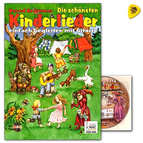 De mooiste kinderliedjes gewoon begeleiden met gitaar - 34 van de populairste kinderliedjes - 34 vierkleurige illustraties en 32 vierkleurige liedkaarten om uit te knippen - Songbook met CD en plek