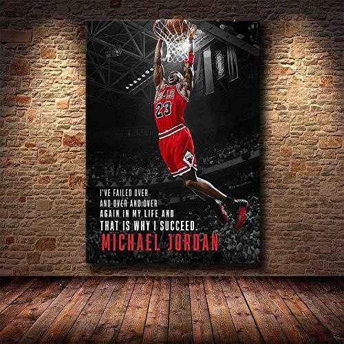 Tankaa Celebrity NBA Pallacanestro Michael Jordan Citazioni motivazionali su tela di canapa Wall Art Inspirational Success HD Poster Soggiorno Camera Da Letto Palestra Studio Home Decor