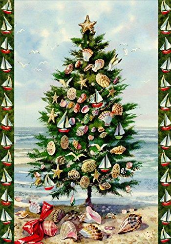 Red Farm Studios Sailboat Ornaments in Tree on Beach Box of 18 Nautical Coastal Christmas Cards